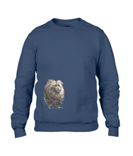 JanaRoos - T-shirts and Sweaters - Unisex Sweater - Packshot - Hand drawn illustration - Round neck - Long sleeves - Cotton - navy blue  - marine blauw - lion tamarin monkey  - leeuwaapje