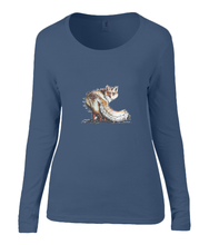 Women T-shirt -  organic cotton - long sleeved - round neck - navy blue - marine blauw - printdesign - drawing - JanaRoos - fox - vos