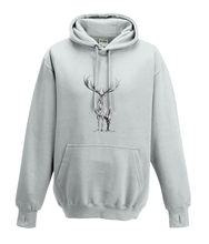 JanaRoos - Hoodies - Kids Hoodie - Packshot - Hand drawn illustration - Round neck - Long sleeves - Cotton - ash grey - as grijs- deer - reindeer - hert - rendier - black/white - zwart/wit
