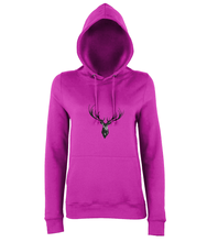 JanaRoos - women's Hoodie - Packshot - Hand drawn illustration - Round neck - Long sleeves - Cotton - hot pink - Deer black ink