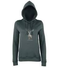 JanaRoos - women's Hoodie - Packshot - Hand drawn illustration - Round neck - Long sleeves - Cotton - charcoal grey - deer colored