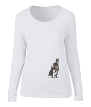Women T-shirt -  organic cotton - long sleeved - round neck - white - wit - printdesign - drawing - JanaRoos - horse - black merrie - paard