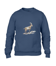 JanaRoos - T-shirts and Sweaters - Sweater - Packshot - Hand drawn illustration - Round neck - Long sleeves - Cotton - Navy blue - marine blauw - gems - mountain goat - berggeit