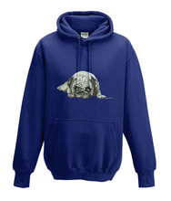 JanaRoos - Hoodies - Kids Hoodie - Packshot - Hand drawn illustration - Round neck - Long sleeves - Cotton - oxford navy blue - marine blauw - pugg - mops - dog - hond
