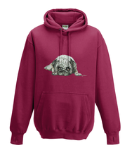 JanaRoos - Hoodies - Kids Hoodie - Packshot - Hand drawn illustration - Round neck - Long sleeves - Cotton - red hot chilli - dieprood- pugg - mops - dog - hond