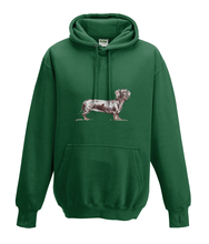 JanaRoos - Hoodies - Kids Hoodie - Packshot - Hand drawn illustration - Round neck - Long sleeves - Cotton - bottle green - fles groen - dachshund - teckel - dog - hond