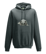 JanaRoos - Hoodie - Packshot - Hand drawn illustration - Round neck - Long sleeves - Cotton - charcoal -pugg- mops