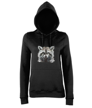 JanaRoos - women's Hoodie - Packshot - Hand drawn illustration - Round neck - Long sleeves - Cotton -black - raccoon