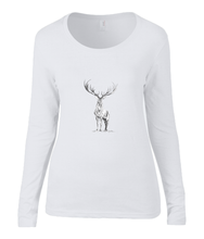 Women T-shirt -  organic cotton - long sleeved - round neck - white - wit - printdesign - drawing - JanaRoos - reindeer - deer - rendier - hert