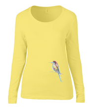 Women T-shirt -  organic cotton - long sleeved - round neck - black - zwart - printdesign - drawing - JanaRoos - yellow - geel - colorful bird - kingfisher - ijsvogel - vogel
