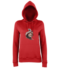 JanaRoos - women's Hoodie - Packshot - Hand drawn illustration - Round neck - Long sleeves - Cotton -fire red-squirrel