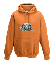 JanaRoos - Hoodies - Kids Hoodie - Packshot - Hand drawn illustration - Round neck - Long sleeves - Cotton - orange - oranje - pugg - mops - dog - hond
