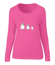 Women T-shirt -  organic cotton - long sleeved - round neck -coral rose - roos - printdesign - drawing - JanaRoos - penguin - pinguïn