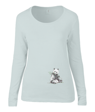 Women T-shirt -  organic cotton - long sleeved - round neck - silver grey - zilver grijs - printdesign - drawing - JanaRoos -Panda bear - beer