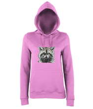 JanaRoos - women's Hoodie - Packshot - Hand drawn illustration - Round neck - Long sleeves - Cotton - candyfloss pink - raccoon