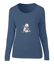 Women T-shirt -  organic cotton - long sleeved - round neck - navy blue - marine blauw - printdesign - drawing - JanaRoos -Panda bear - beer