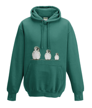 JanaRoos - Hoodies - Kids Hoodie - Packshot - Hand drawn illustration - Round neck - Long sleeves - Cotton - jade - appelblauw zeegroen - Penguins - Pinguïns