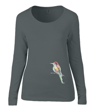 Women T-shirt -  organic cotton - long sleeved - round neck - black - zwart - printdesign - drawing - JanaRoos -black - zwart- colorful bird - kingfisher - ijsvogel - vogel