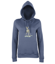 JanaRoos - women's Hoodie - Packshot - Hand drawn illustration - Round neck - Long sleeves - Cotton - airforce blue- bambi