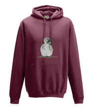 JanaRoos - Hoodie - Packshot - Hand drawn illustration - Round neck - Long sleeves - Cotton -brick red - penguin