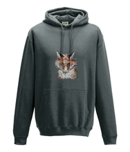 JanaRoos - Hoodie - Packshot - Hand drawn illustration - Round neck - Long sleeves - Cotton - charcoal - fox- vos