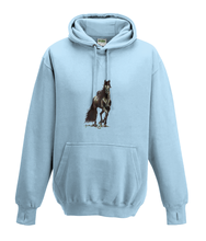 JanaRoos - Hoodies - Kids Hoodie - Packshot - Hand drawn illustration - Round neck - Long sleeves - Cotton - sky blue - hemels blauw - horse - black merrie - paard