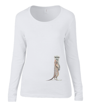 Women T-shirt -  organic cotton - long sleeved - round neck - white - wit - printdesign - drawing - JanaRoos - meerkat - stokstaartje