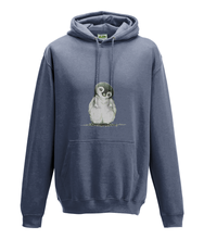 JanaRoos - Hoodie - Packshot - Hand drawn illustration - Round neck - Long sleeves - Cotton - air force blue - penguin