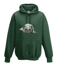 JanaRoos - Hoodies - Kids Hoodie - Packshot - Hand drawn illustration - Round neck - Long sleeves - Cotton - forest green - mosgroen - pugg - mops - dog - hond