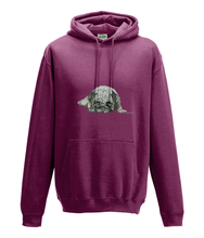 JanaRoos - Hoodie - Packshot - Hand drawn illustration - Round neck - Long sleeves - Cotton - burgundy -pugg- mops