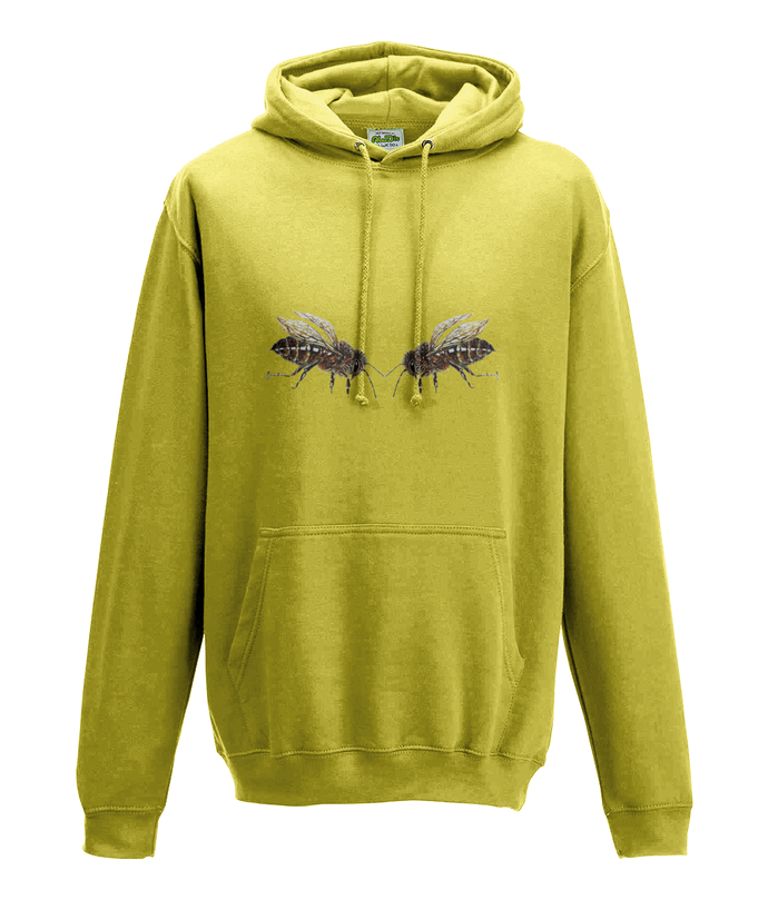 JanaRoos - Hoodie - Packshot - Hand drawn illustration - Round neck - Long sleeves - Cotton - yellow - geel - bee's - bijen