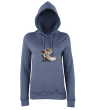 JanaRoos - women's Hoodie - Packshot - Hand drawn illustration - Round neck - Long sleeves - Cotton -airforce blue- foxy