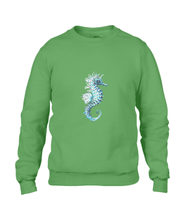 JanaRoos - T-shirts and Sweaters - Sweater - Packshot - Hand drawn illustration - Round neck - Long sleeves - Cotton - green - groen - Sea-Horse - Zeepaardje