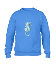 JanaRoos - T-shirts and Sweaters - Sweater - Packshot - Hand drawn illustration - Round neck - Long sleeves - Cotton - Royal Blue -  blauw - Sea-Horse - Zeepaardje