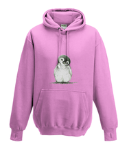 JanaRoos - Hoodies - Kids Hoodie - Packshot - Hand drawn illustration - Round neck - Long sleeves - Cotton - candy pink - snoep roos - Penguin - Pinguïn