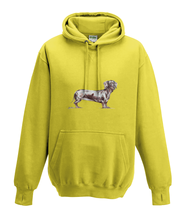 JanaRoos - Hoodies - Kids Hoodie - Packshot - Hand drawn illustration - Round neck - Long sleeves - Cotton - yellow - geel- dachshund - teckel - dog - hond