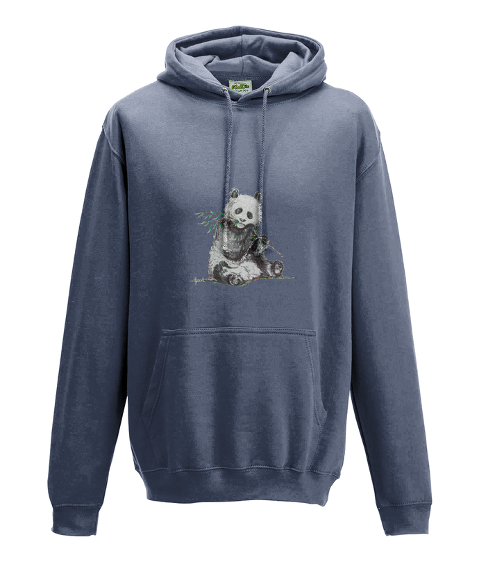 JanaRoos - Hoodie - Packshot - Hand drawn illustration - Round neck - Long sleeves - Cotton -airforce blue - panda