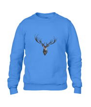 JanaRoos - Unisex sweater - Hand drawn illustration - Print design -black ink - zwarte inkt - royal blue - royaal blauw -  Reindeer - deer - rendier - hert