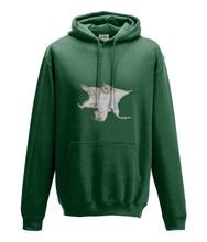 JanaRoos - Hoodie - Packshot - Hand drawn illustration - Round neck - Long sleeves - Cotton -bottle green  - flying squirrel - vliegende eekhhoorn
