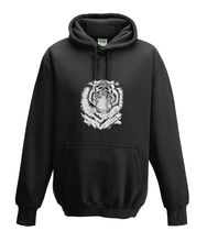 JanaRoos - Hoodies - Kids Hoodie - Packshot - Hand drawn illustration - Round neck - Long sleeves - Cotton - zwart - black - white tiger - witte tijger - black/white - zwart/wit