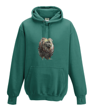 JanaRoos - Hoodies - Kids Hoodie - Packshot - Hand drawn illustration - Round neck - Long sleeves - Cotton - jade - appelblauw - zeegroen - golden lion monkey - leeuwaapje