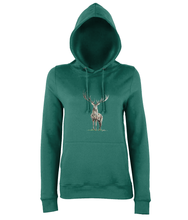 JanaRoos - women's Hoodie - Packshot - Hand drawn illustration - Round neck - Long sleeves - Cotton - jade - deer colored