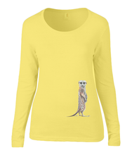 Women T-shirt -  organic cotton - long sleeved - round neck - yellow - geel - printdesign - drawing - JanaRoos - meerkat - stokstaartje