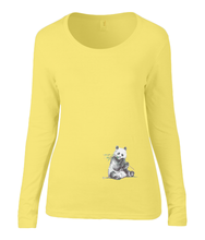Women T-shirt -  organic cotton - long sleeved - round neck - yellow - geel - printdesign - drawing - JanaRoos -Panda bear - beer