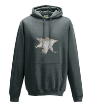 JanaRoos - Hoodie - Packshot - Hand drawn illustration - Round neck - Long sleeves - Cotton - charcoal - flying squirrel - vliegende eekhhoorn