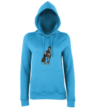 JanaRoos - women's Hoodie - Packshot - Hand drawn illustration - Round neck - Long sleeves - Cotton -sapphire blue- Black merrie-horse