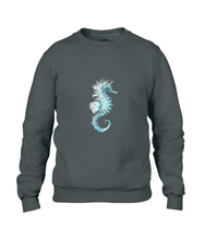 JanaRoos - T-shirts and Sweaters - Sweater - Packshot - Hand drawn illustration - Round neck - Long sleeves - Cotton - black - zwart - Sea-Horse - Zeepaardje