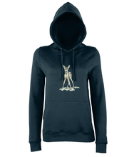 JanaRoos - women's Hoodie - Packshot - Hand drawn illustration - Round neck - Long sleeves - Cotton -marine blue- bambi