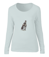 Women T-shirt -  organic cotton - long sleeved - round neck - silver grey - zilver grijs - printdesign - drawing - JanaRoos - horse - black merrie - paard