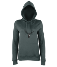 JanaRoos - women's Hoodie - Packshot - Hand drawn illustration - Round neck - Long sleeves - Cotton -charcoal grey- Deer black ink